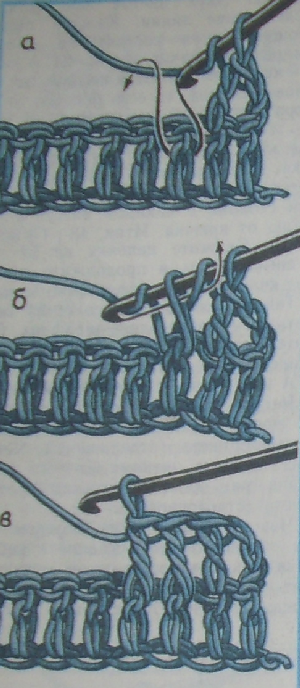Далее вяжите обычными столбиками с накидом, вводя крючок под всю петлю...
